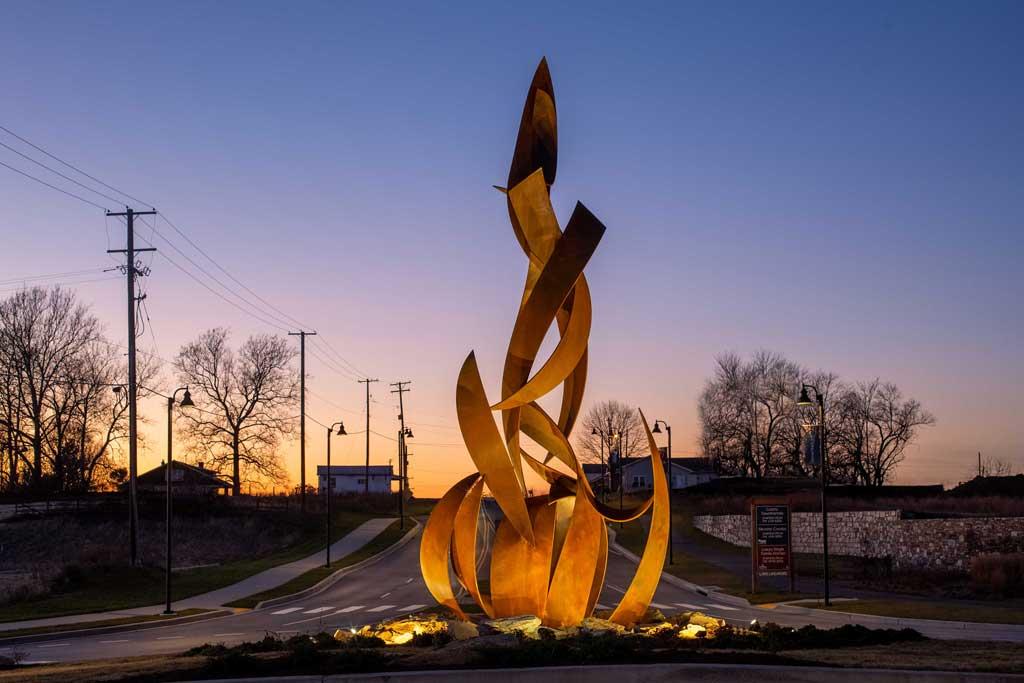 Campfire sculpture by Joshua Wiener at Lake Linganore